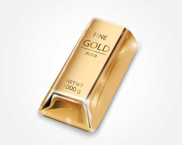 Sztabka złota na przezroczystym tle.