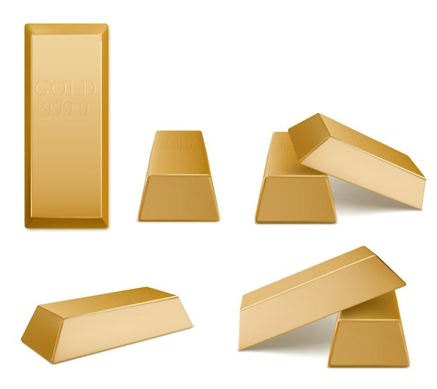 Sztabki złota, cegła złota, bloki złota z żółtych metali szlachetnych o najwyższym standardzie. inwestycje pieniężne, bankowość, system finansowy, kapitał na białym tle na ciemnym tle 3d realistyczna ilustracja, zestaw