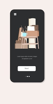 Sztalugi pędzle na płótnie kreatywne warsztaty profesjonalne studio artystyczne ekran smartfona aplikacja mobilna pionowa