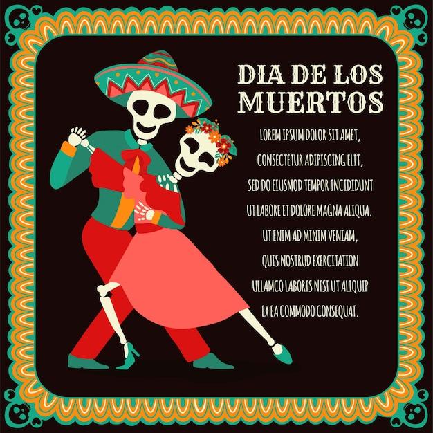 Sztandar dia de los muertos z kolorowymi meksykańskimi kwiatami