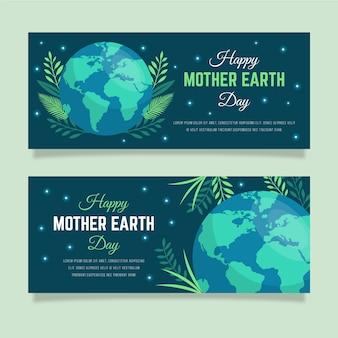 Sztandar dzień matki ziemi w płaska konstrukcja