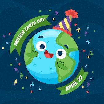 Sztandar dzień matki ziemi z uroczystej ziemi