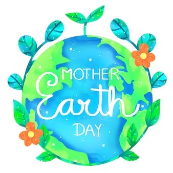 Sztandar dzień matki ziemia w akwareli