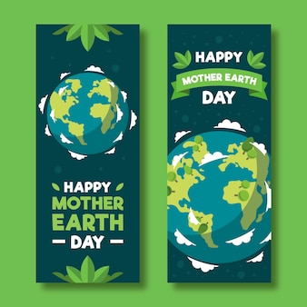 Sztandar dzień matki ziemia z planetą i liśćmi