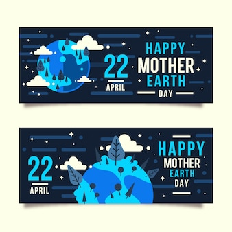 Sztandar dzień matki ziemia z planetą i powitanie