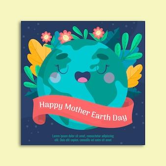 Sztandar dzień matki ziemia z powitaniem