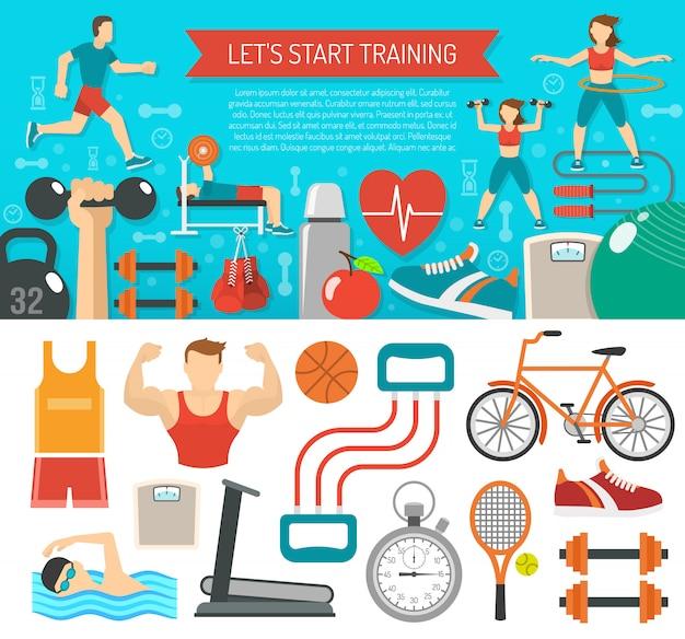 Sztandar fitness poziomy