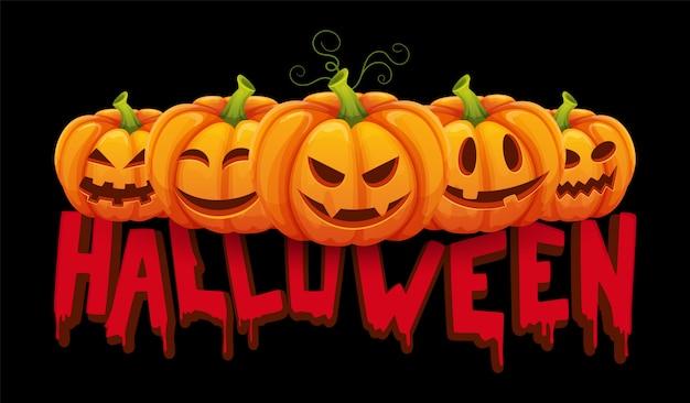 Sztandar halloween. dynia halloween z zabawnymi minami. tło strony