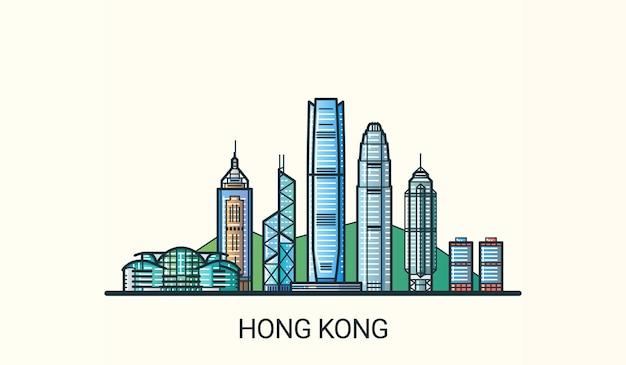 Sztandar hongkongu w modnym stylu płaskiej linii. wszystkie budynki są oddzielone i konfigurowalne. grafika liniowa.
