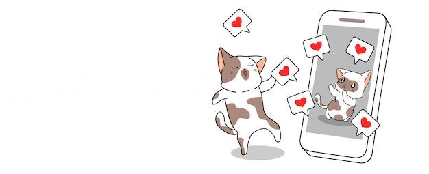 Sztandar kawaii cat jest zadowolony z mediów społecznościowych