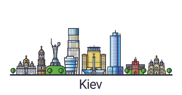 Sztandar kijowa w modnym stylu płaskiej linii. grafika liniowa miasta kijów. wszystkie budynki oddzielone i konfigurowalne.