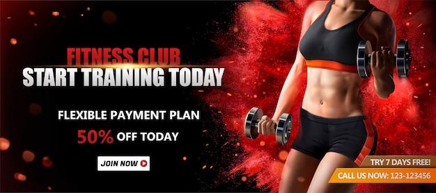 Sztandar klubu fitness ze zdrową kobietą podnoszącą ciężary na czerwonej powierzchni efekt wybuchającego proszku, ilustracja 3d