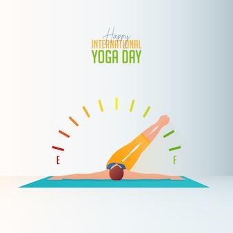Sztandar kobiety robi joga w domu dla międzynarodowego dnia joga.