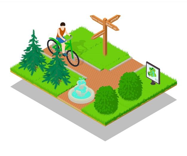 Sztandar koncepcja ścieżka rowerowa, izometryczny styl