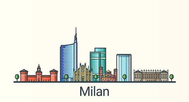 Sztandar mediolanu w modnym stylu linii płaskiej. wszystkie budynki oddzielone i konfigurowalne. grafika liniowa.
