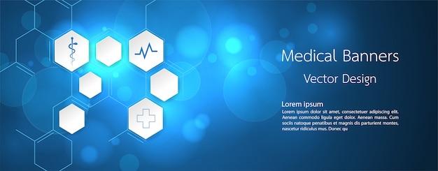 Sztandar medyczny dna i technologii tło