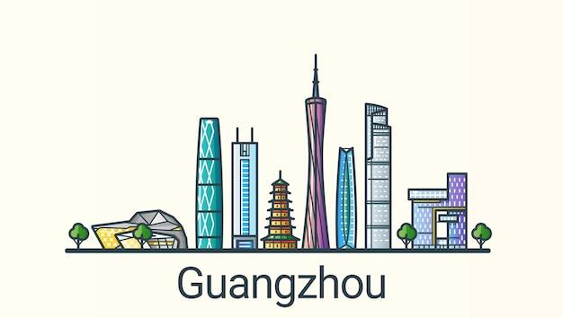Sztandar miasta guangzhou w modnym stylu płaskiej linii. wszystkie budynki oddzielone i konfigurowalne. grafika liniowa.