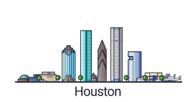 Sztandar miasta houston w modnym stylu linii płaskiej. grafika liniowa miasta houston. wszystkie budynki oddzielone i konfigurowalne.