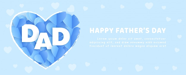 Sztandar na dzień ojca w stylu cięcia papieru.