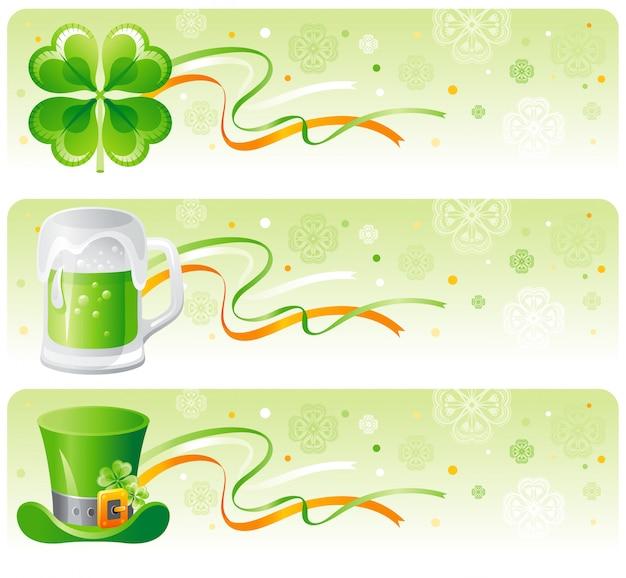 Sztandar na dzień świętego patryka z koniczyną, zielonym piwem i kapeluszem krasnoludka.
