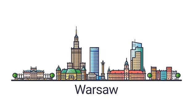 Sztandar panoramę warszawy w modnym stylu linii płaskiej. grafika liniowa miasta warszawy.