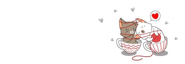 Sztandar pary kot kocha wewnątrz filiżanki