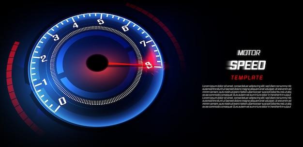 Sztandar prędkości ruchu tło z szybkim prędkościomierzem samochodem.