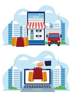 Sztandar robi zakupy online z smartphone i laptopu ilustracją