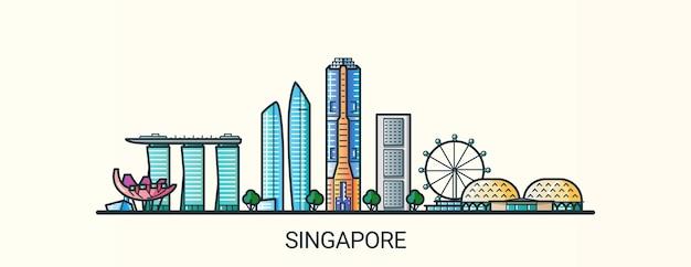 Sztandar singapuru w modnym stylu płaskiej linii. wszystkie budynki są oddzielone i konfigurowalne. grafika liniowa.