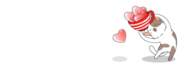 Sztandar śliczny kot trzyma filiżankę serc