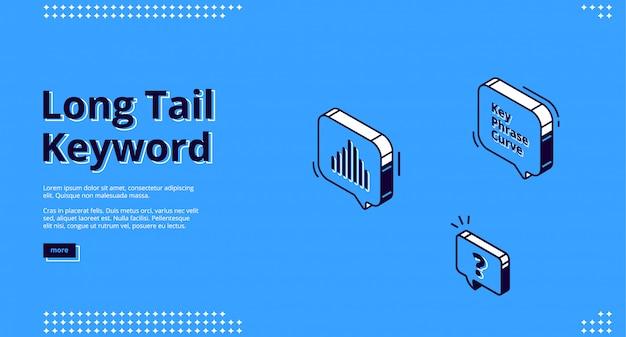 Sztandar słowo kluczowe długi ogon z ikonami izometryczny