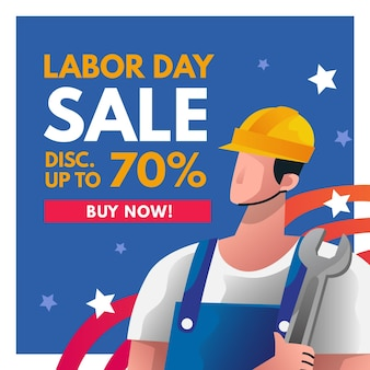 Sztandar sprzedaż dzień pracy kwadrat