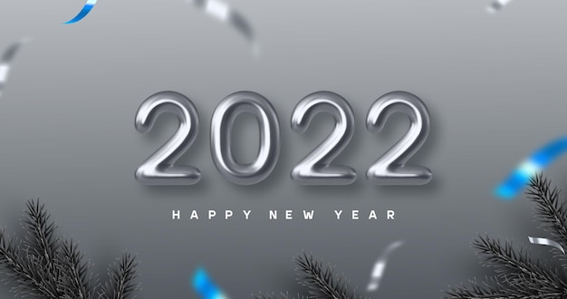 Sztandar szczęśliwego nowego roku 2022. ręczne pisanie 3d metalowe liczby 2022 z gałęzi sosny. monochromatyczne tło z niebieskim kontrastem. ilustracja wektorowa.