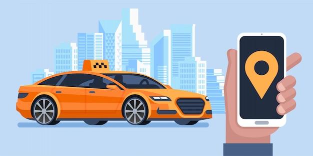 Sztandar taksówki. aplikacja mobilna zamów online taksówkę. mężczyzna wezwał taksówkę smartfonem.