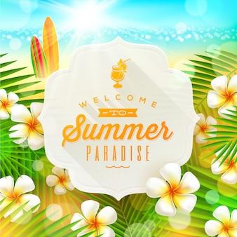 Sztandar z lata powitaniem i frangipani kwitnie przeciw tropikalnego brzeg seascape z surfboards - ilustracja