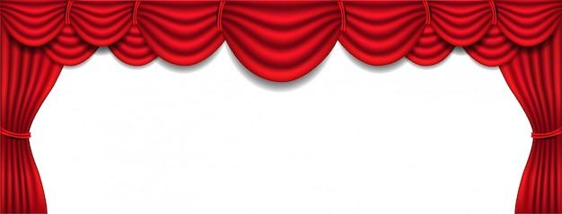Sztandar z luksusową czerwoną jedwabną zasłoną i draperią wnętrzem na białym tle