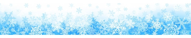 Sztandar złożonych płatków śniegu boże narodzenie z bezszwowe poziome powtórzenia, w jasnoniebieskich kolorach. zimowe tło ze spadającym śniegiem
