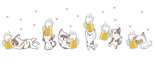 Sztandarowe postacie z kotów kawaii cieszą się z piwa