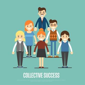 Sztandaru sukcesu sztandar z ludźmi biznesu