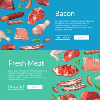 Sztandaru szablonu kreskówki mięsa kawałków sieci horyzontalni sztandary ilustracyjni