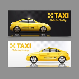 Sztandaru usługowy taxi ustawiający z żółtymi samochodami z odbiciem