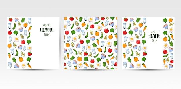 Sztandary, bezszwowi wzory z kawaii kreskówki jedzeniem
