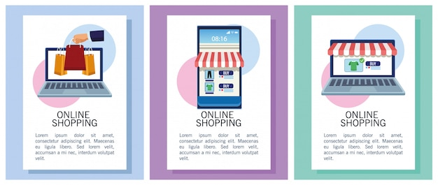 Sztandary robi zakupy online z laptopami i smartphone ilustracją