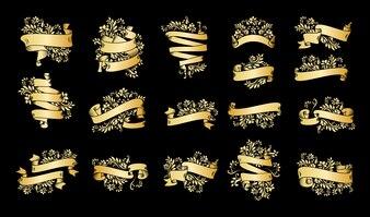Sztandary złota wstążka starodawny z liści i kwiatów