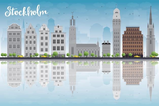 Sztokholm skyline z szarych budynków i błękitne niebo