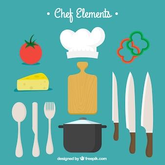 Sztućce ze składnikami i innymi elementami do gotowania