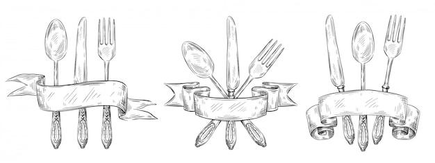 Sztućce ze wstążką. grawerowanie ustawienie rocznika tabeli, ręcznie rysowane widelec, nóż i łyżka żywności szkic ilustracji zestaw