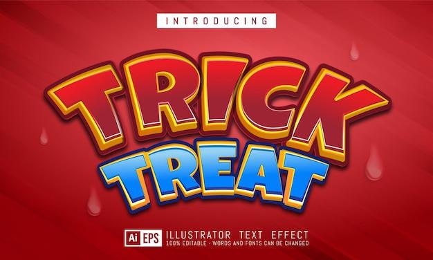 Sztuczka lub traktuj edytowalny efekt stylu tekstu odpowiedni dla motywu baneru halloween