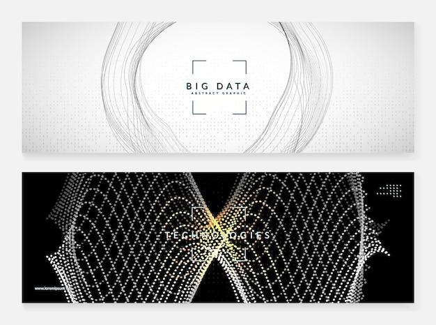 Sztuczna inteligencja. abstrakcyjne tło. technologia cyfrowa, koncepcja głębokiego uczenia się i dużych zbiorów danych. wizualizacja techniczna dla szablonu sieci. faliste tło sztucznej inteligencji.