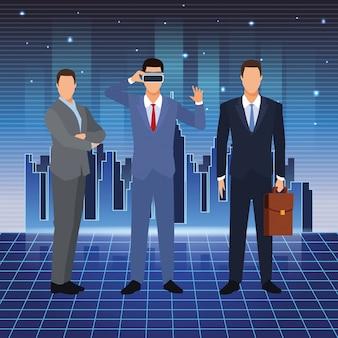 Sztuczna inteligencja biznesmenów vr okulary walizka
